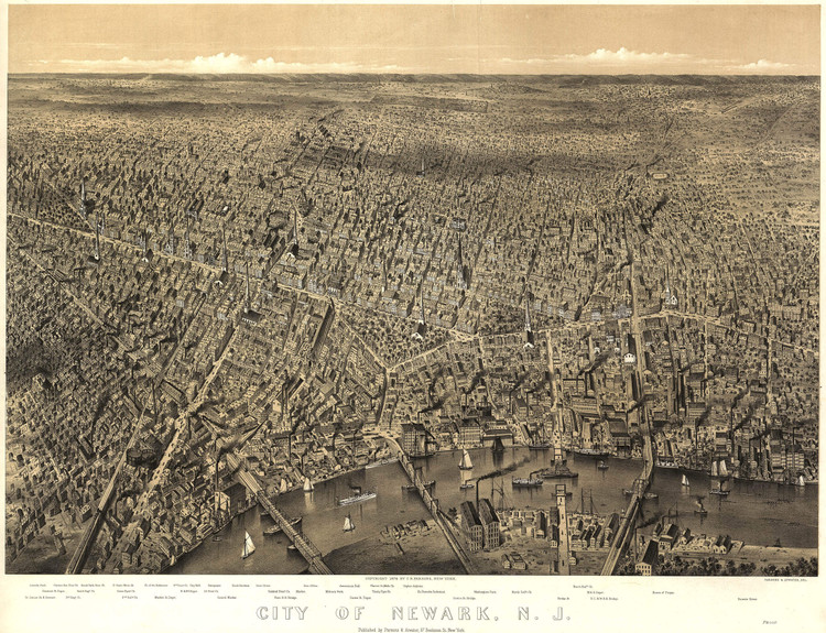Historic Map - Newark, NJ - 1874