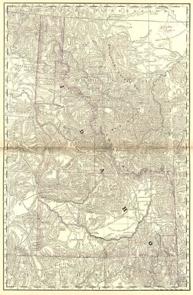 Historical Railroad Map of Idaho - 1878