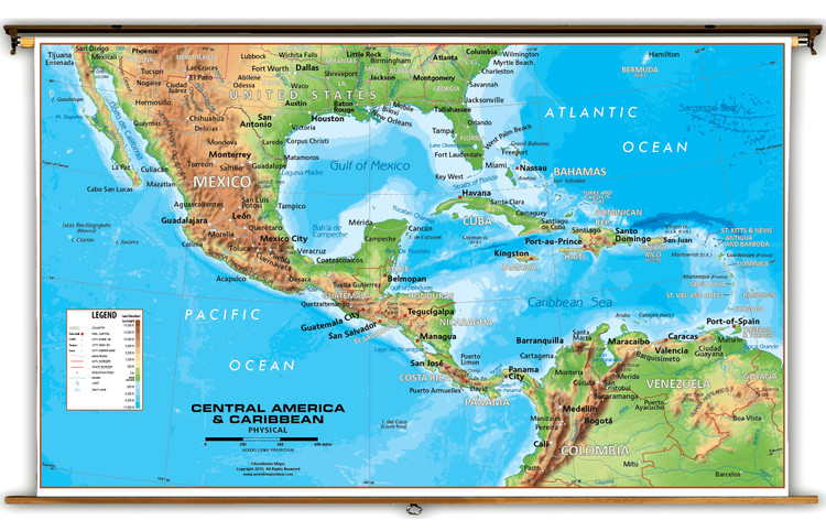 Central America & Caribbean Physical Classroom Map from Academia