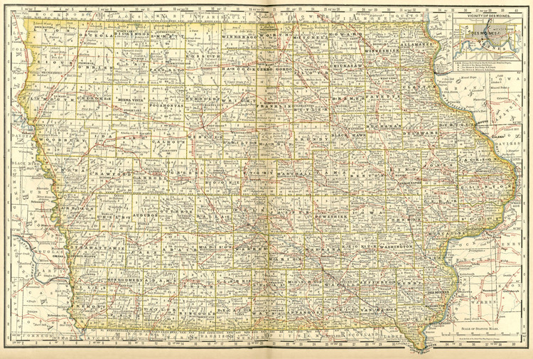 Historical Railroad Map of Iowa - 1878