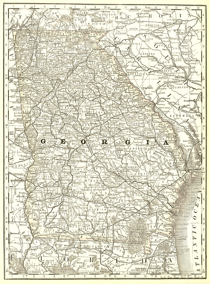 Historical Railroad Map of Georgia - 1878