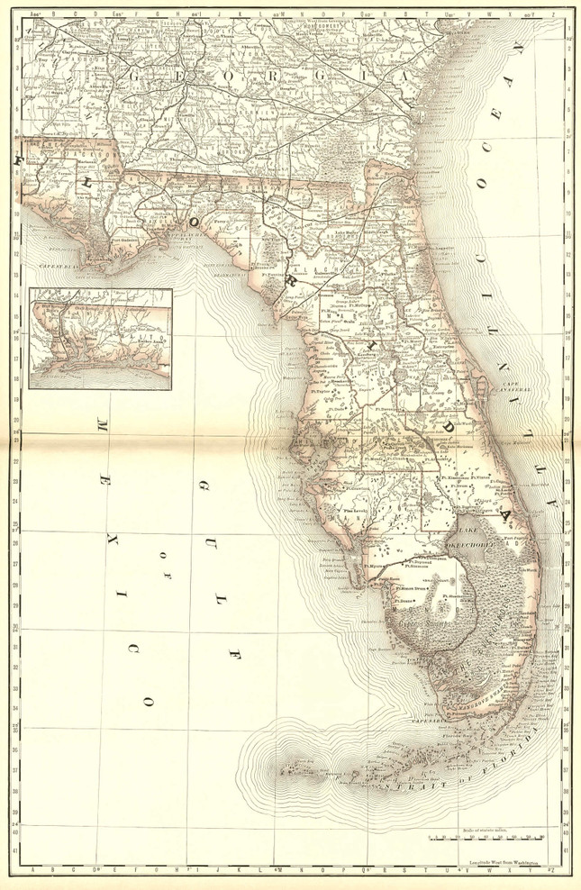 Historical Railroad Map of Florida - 1878