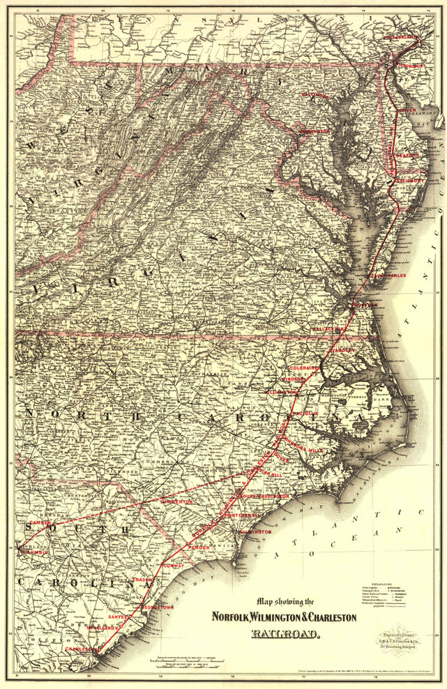Historic Railroad Map of the Eastern United States - 1891