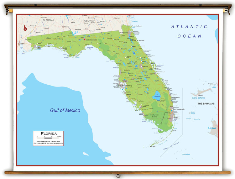 Florida Physical Pull-Down Map