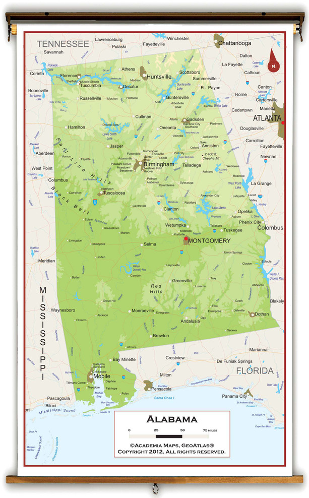 Alabama Physical Pull-Down Map