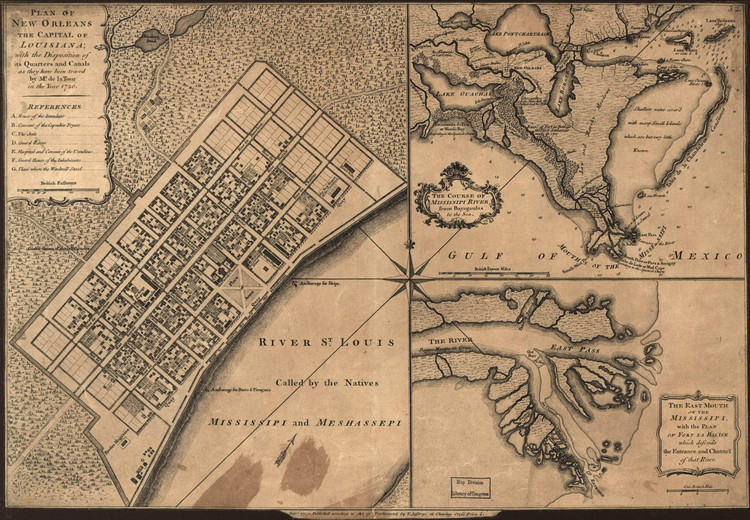 Historical Map of New Orleans, LA - 1720