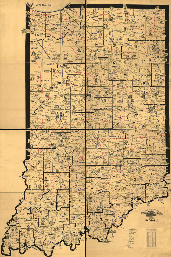 Historic Railroad Map of Indiana - 1898