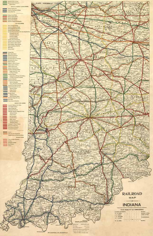 Historic Railroad Map of Indiana - 1896