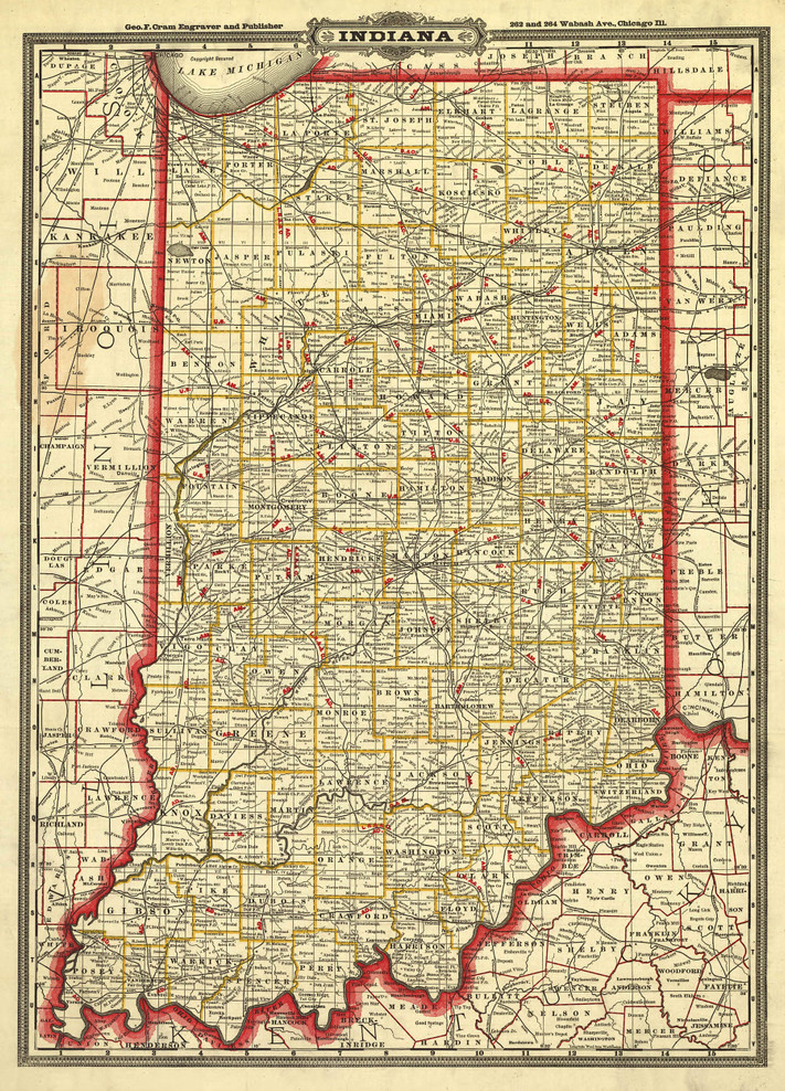 Historic Railroad Map of Indiana - 1888
