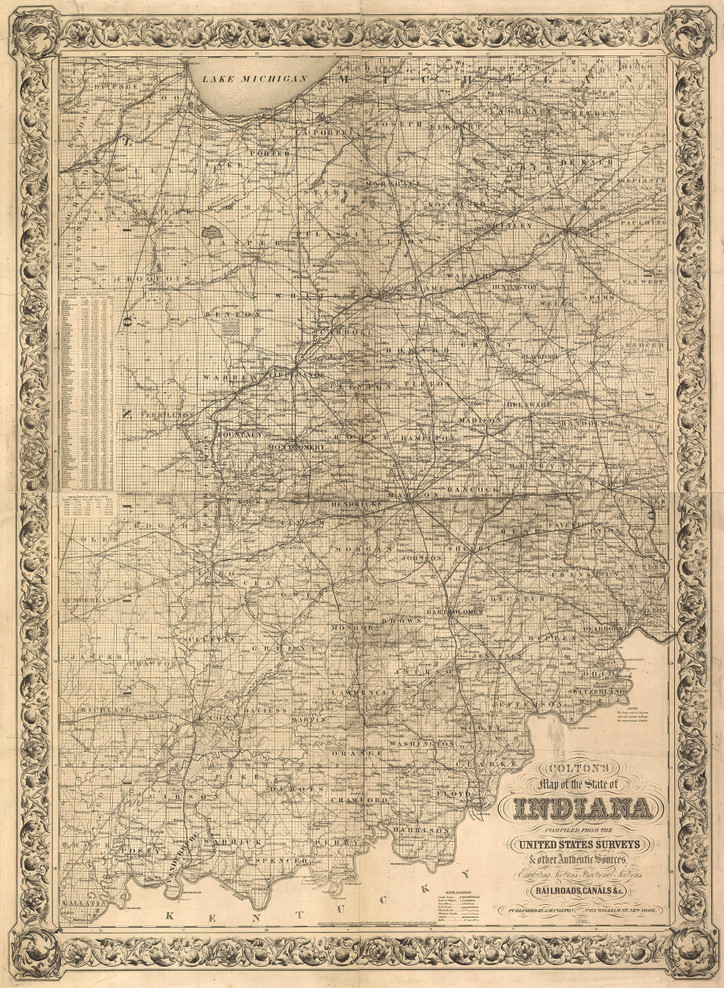 Historic Railroad Map of Indiana - 1860