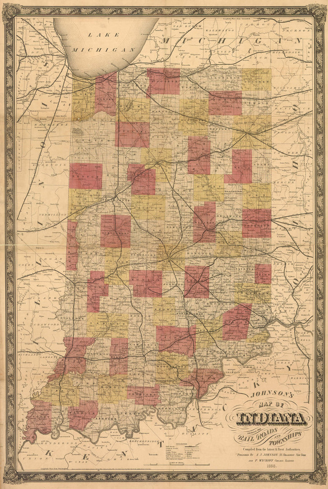 Historic Railroad Map of Indiana - 1858