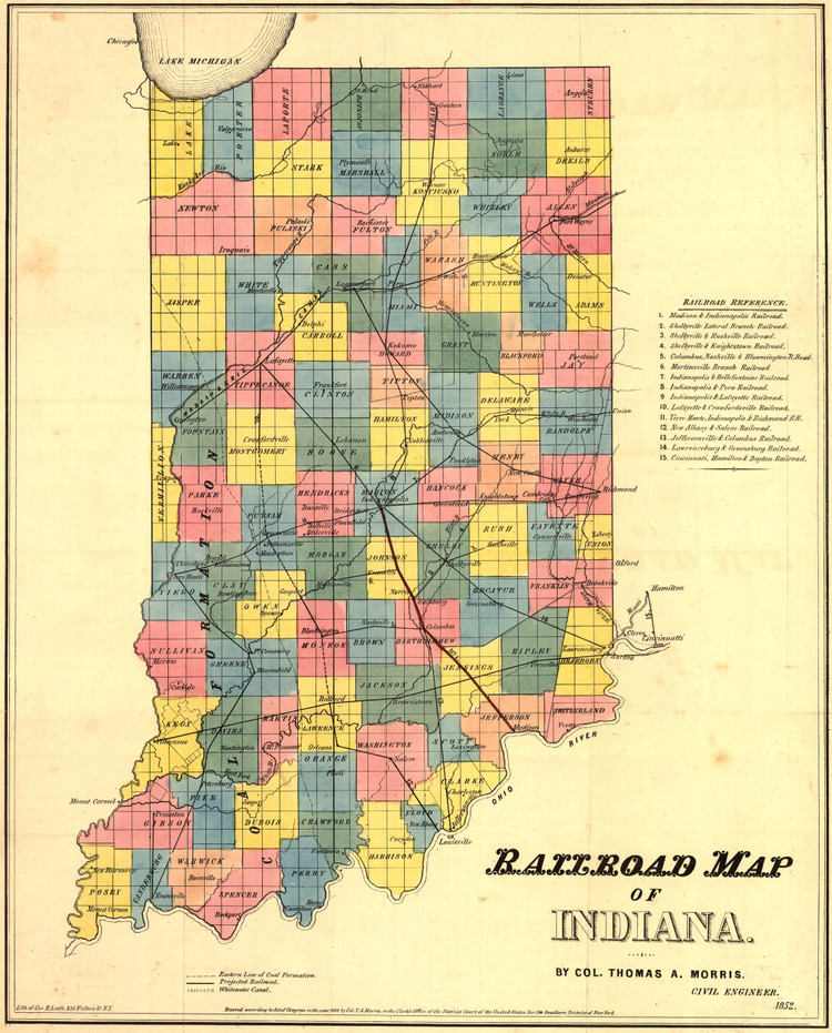 Historic Railroad Map of Indiana - 1850