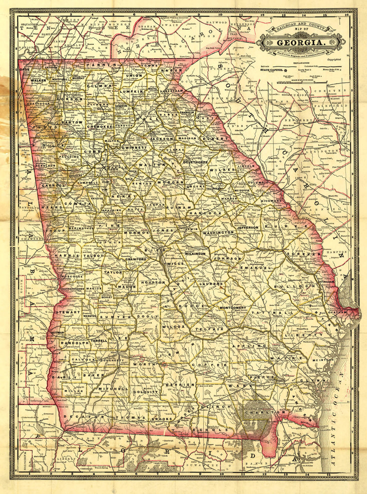 Historic Railroad Map of Georgia - 1883