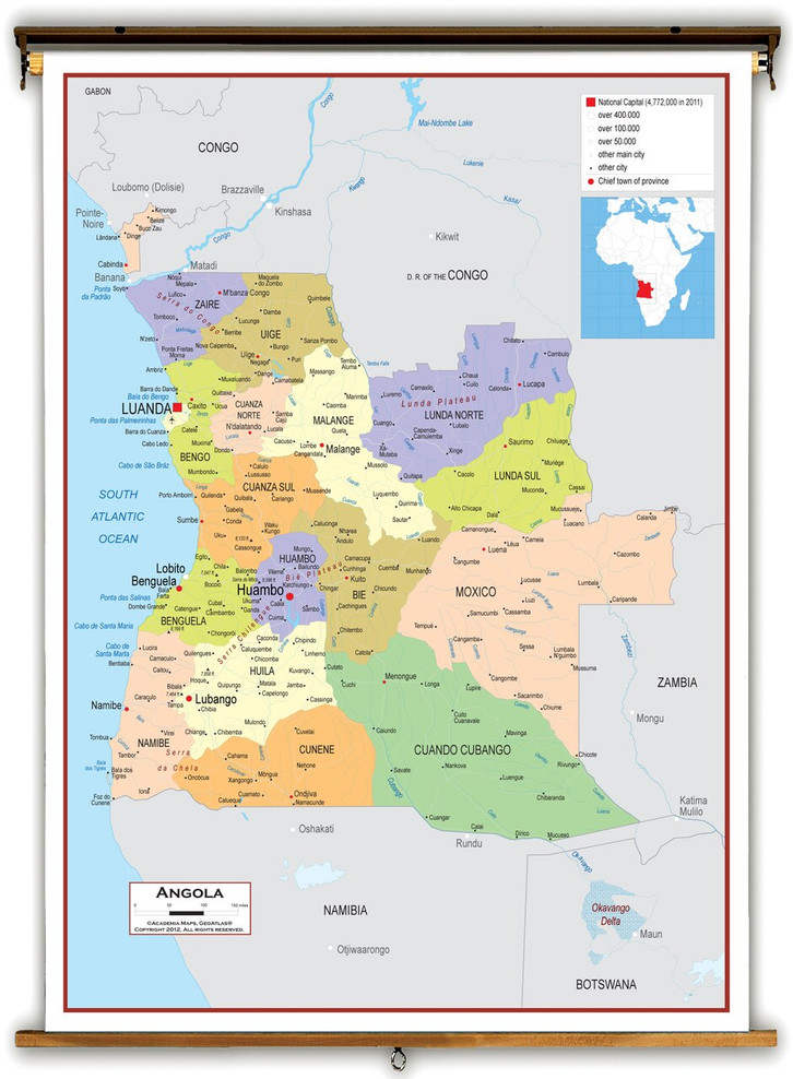 Angola Political Educational Map from Academia Maps