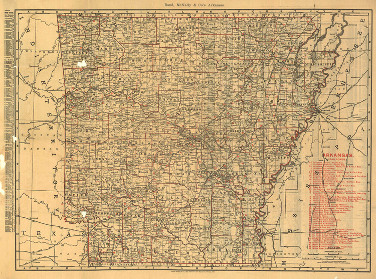 Historic Railroad Map of Arkansas - 1898
