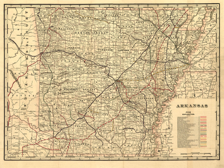 Historic Railroad Map of Arkansas - 1895