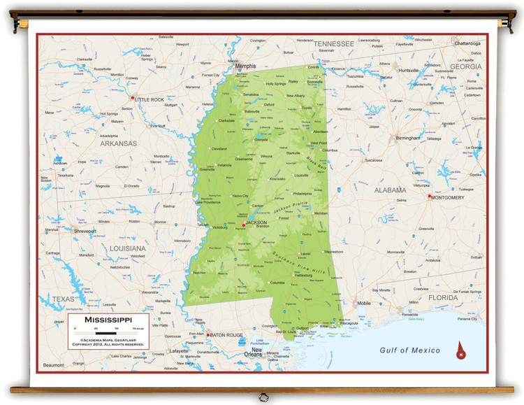 Mississippi Physical Pull-Down Map