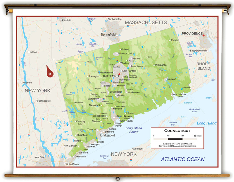 Connecticut Physical Pull-Down Map
