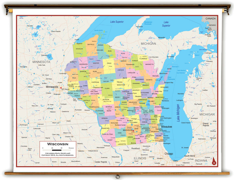 Wisconsin Political Spring Roller Map