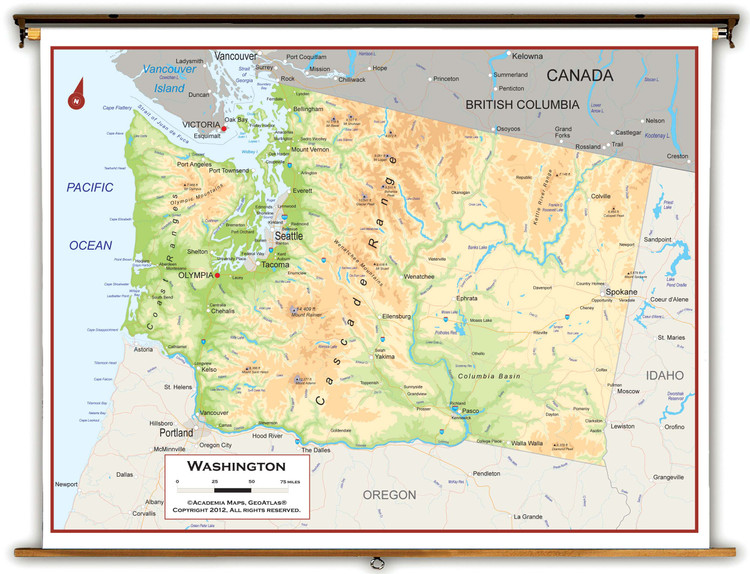 Washington State Physical Pull-Down Map