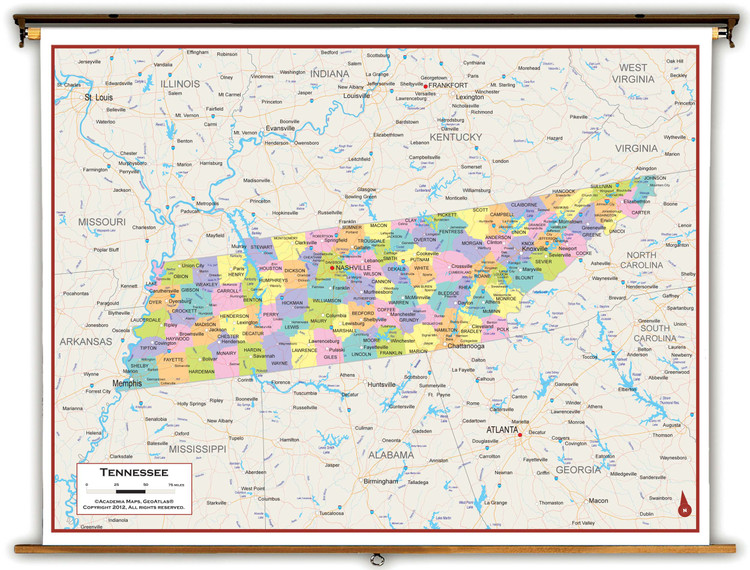Tennessee Political Spring Roller Map