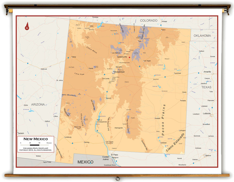 New Mexico Physical Spring Roller Map