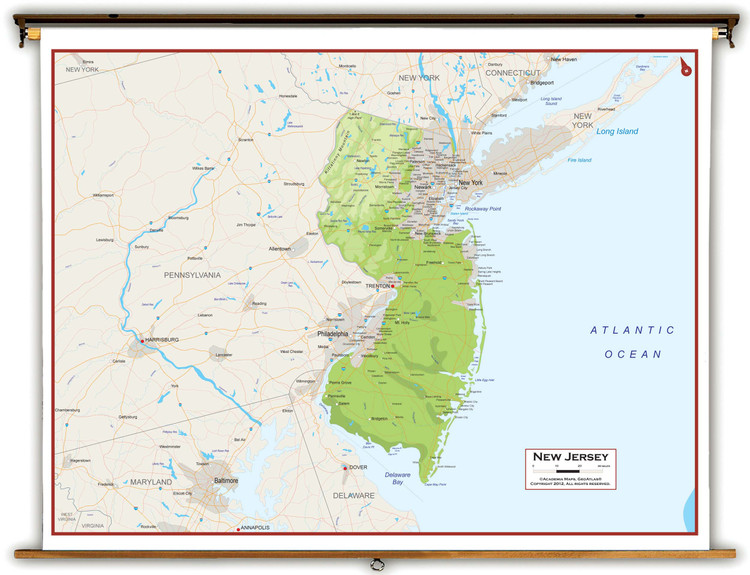 New Jersey Physical Pull-Down Map