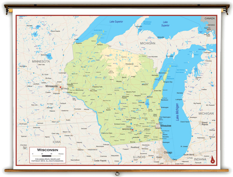 Wisconsin Physical Pull-Down Map