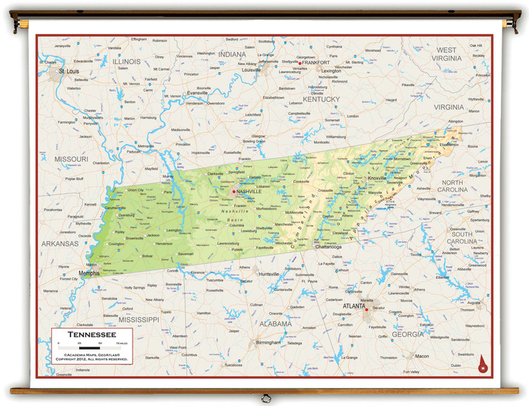 Tennessee Physical Pull-Down Map