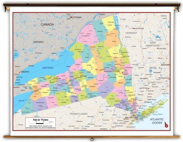 New York State Political Spring Roller Map