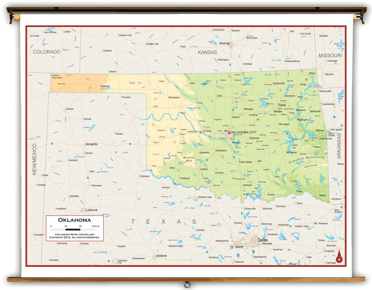 Oklahoma Physical Pull-Down Map