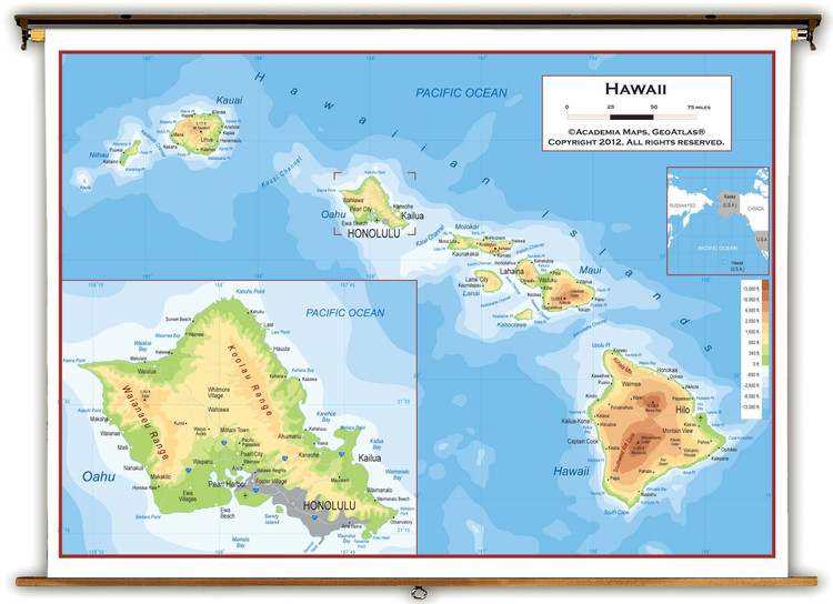 Hawaii Physical Pull-Down Map
