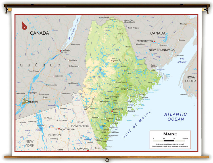 Maine Physical Pull-Down Map