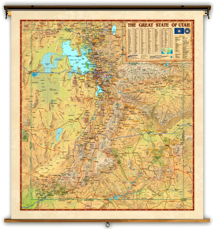 Utah Physical Wall Map by Compart Maps