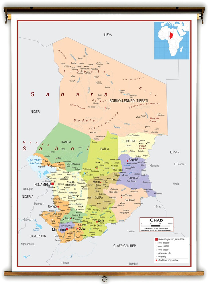 Chad Political Educational Map from Academia Maps