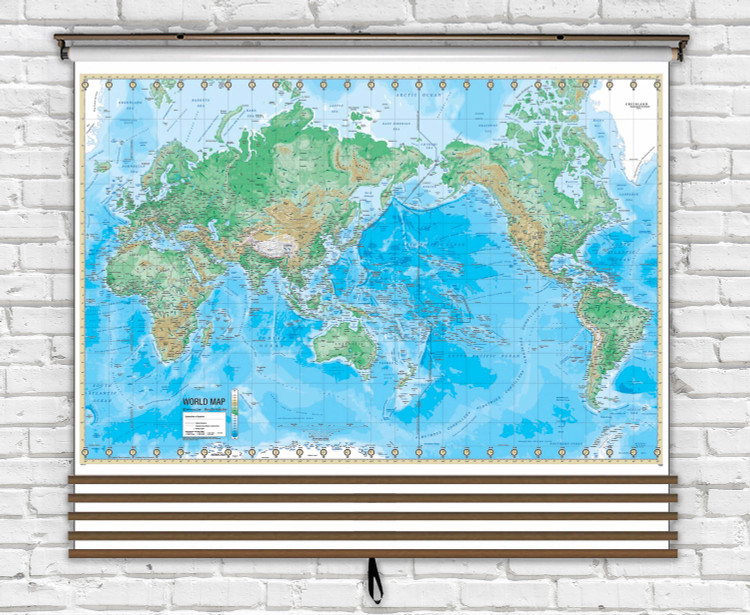 Advanced classroom map bundle mounted on spring roller