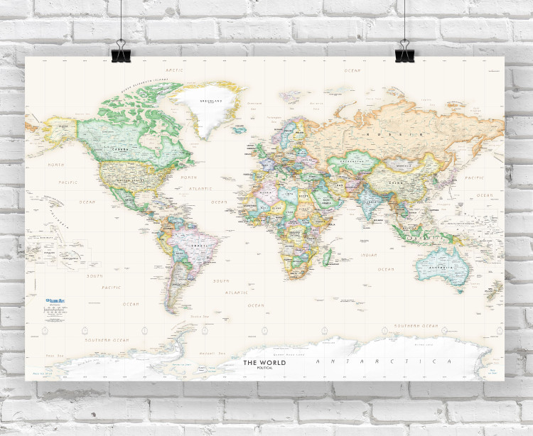 Executive World Wall Map - Antique Oceans