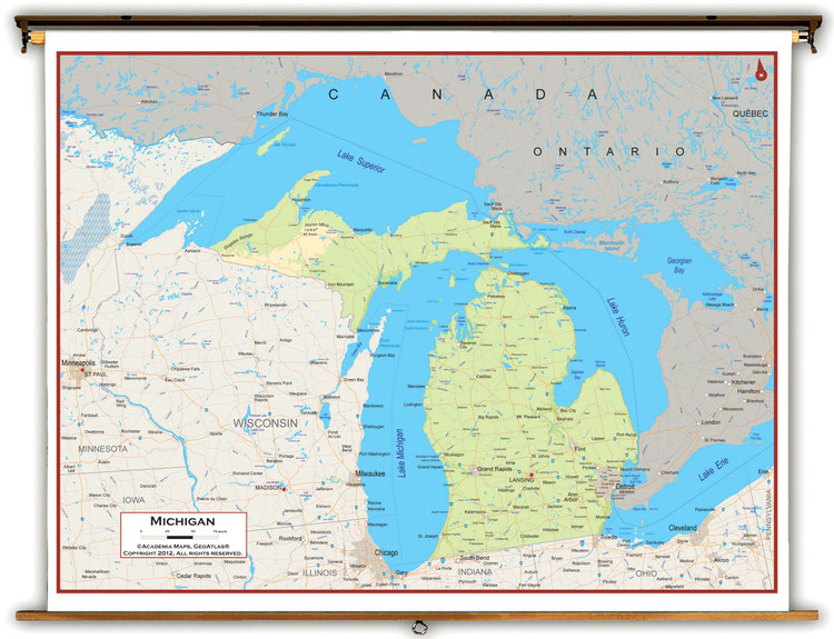 Michigan Physical Pull-Down Map