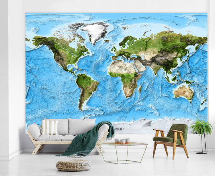 World Exaggerated Relief Enhanced Satellite Image Map Mural