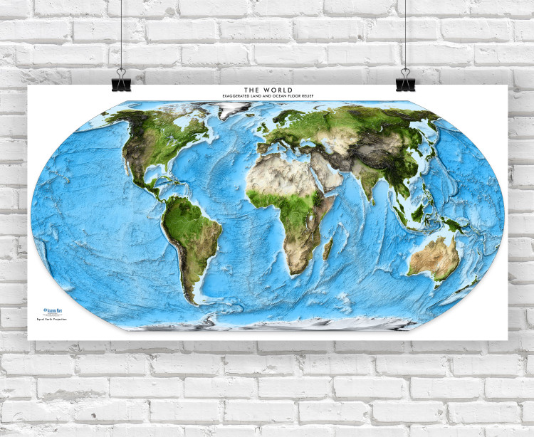 Equal Earth World Exaggerated Relief Enhanced Satellite Image Coverage Wall Map