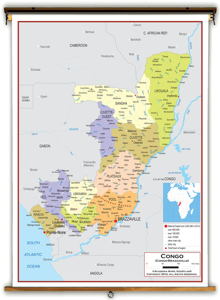 Republic of the Congo Political Educational Map from Academia Maps