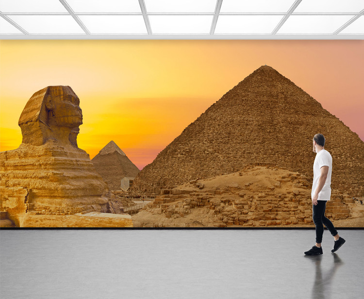Great Egyptian Pyramids of Giza & Sphinx Panorama Wall Mural