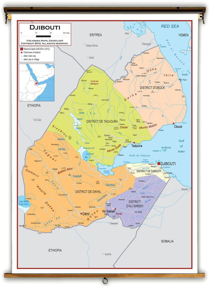 Djibouti Political Educational Map from Academia Maps