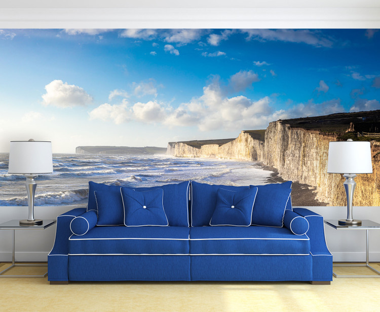 Seven Sisters Chalk Cliffs England Panorama Wall Mural