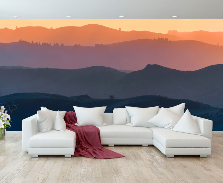 Mountain Valley Sunset Scenic Nature Wall Mural
