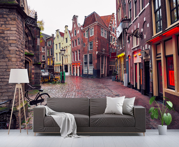 Red Light District Amsterdam Street View Wall Mural