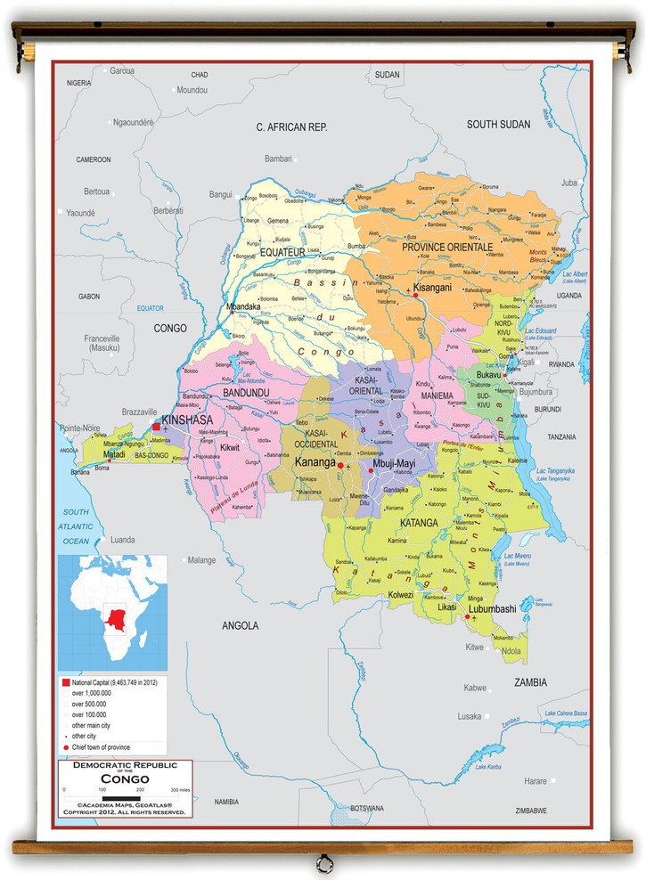 Democratic Republic of the Congo Political Educational Map from Academia Maps