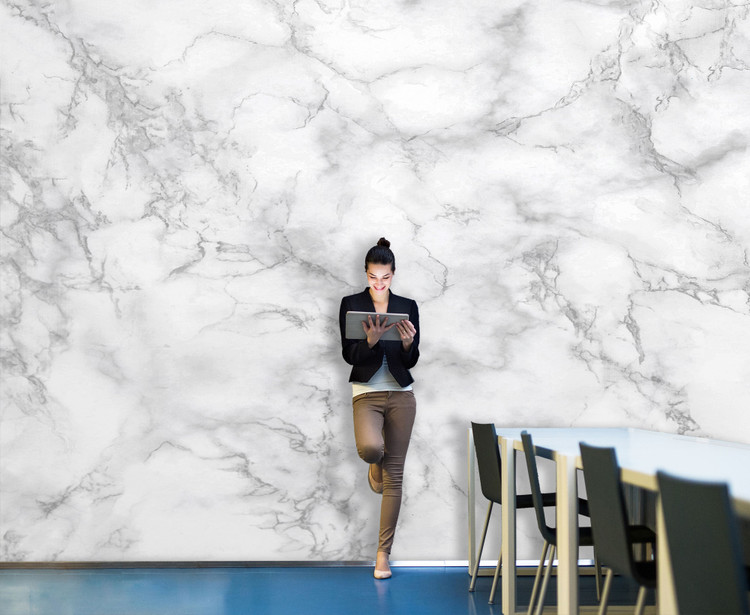 White Marble Wall w/ Gray Veins Backdrop Wall Decal