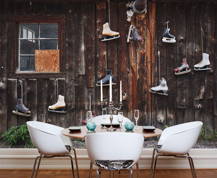 Rustic Old Wood Cabin w/ Vintage Ice Skates Hanging Backdrop Wall Decal