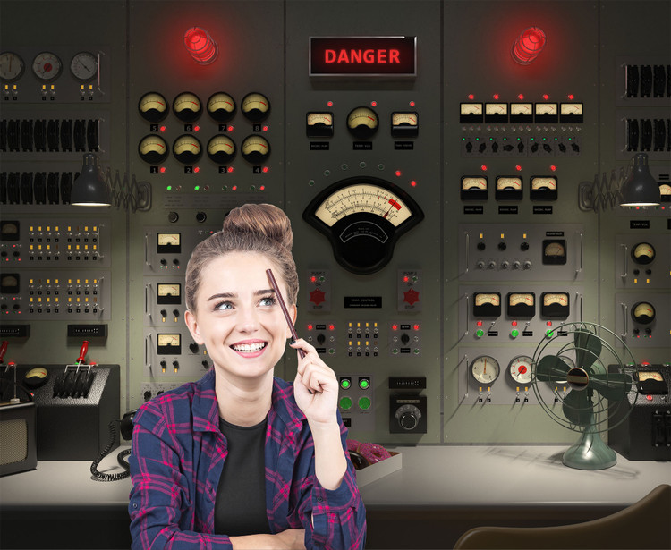 Vintage Control Room Backdrop Wall Decal